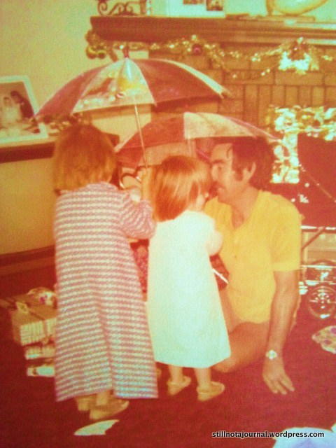 My favourite photo of Dad with us girls. (Justine is the shortarse.)