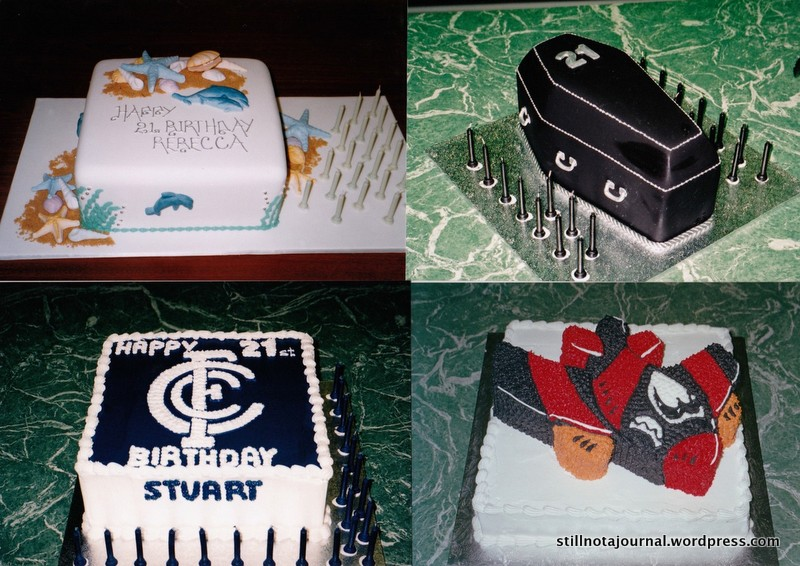 Beach Babe Cake, Goth 21st Cake, Carlton Blues Fan Cake, Essendon Bombers Fan Cake. Not shown here are the literally hundreds of kids' cakes of every cartoon/movie/tv show/ videogame character you can think of. Mum did them freehand if they didn't have the tin; give her some baking paper, scissors and a skewer and she could transfer anything.