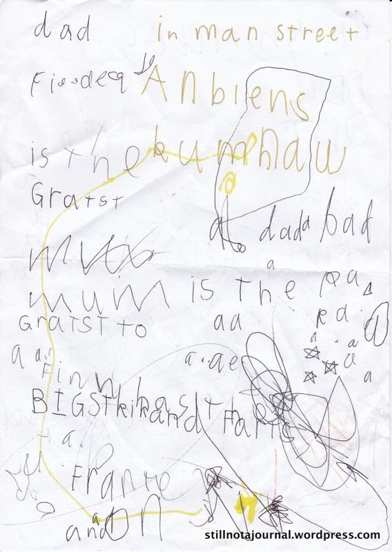"Highlights: ""Dad is the greatest. Mum is the greatest too. Finn has the biggest kicks and farts."" Why am I not surprised he can spell 'farts' correctly?"