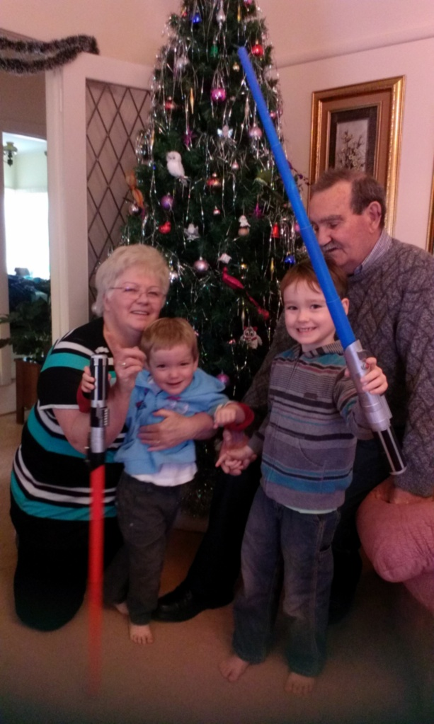 The perfect grandparents Christmas photo, take 1.