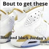 blue and black Jordans dressgate
