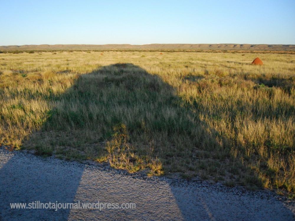 shadow, termite mounds Exmouth Western Australia