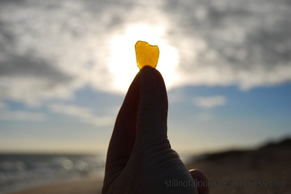 This beach even makes litter beautiful; a piece of sea glass. The ONLY piece of actual rubbish I found.