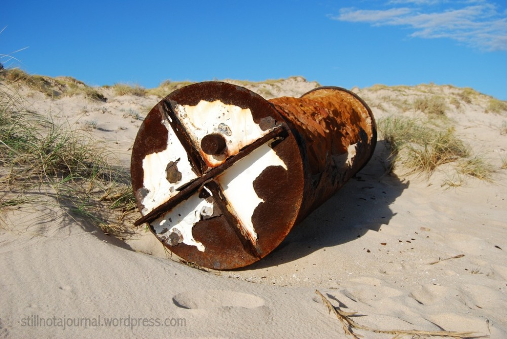 A metal hulk lying rusting in the dunes. Probably from the SS Mildura which clipped the North West Reef near Vlamingh Head in 1907, and the catalyst for Vlamingh Head Lighthouse being built. The hull's still out there, visible at low tide - despite being used for bombing practise by the Allies during World War II.