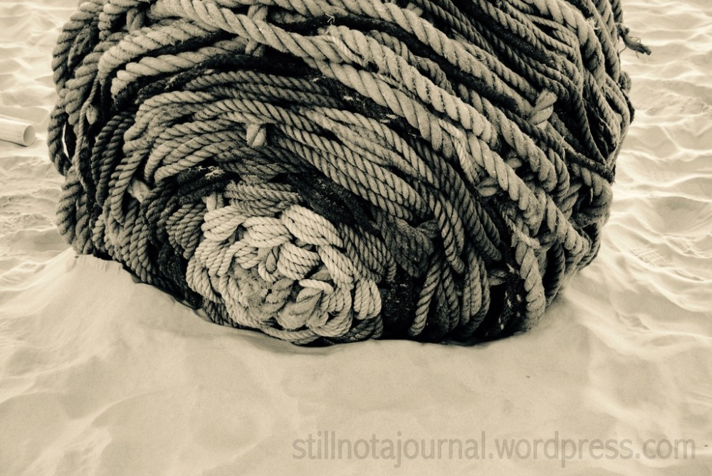 Reminds me of an old glass buoy wrapped in rope that Dad found at the beach years ago.