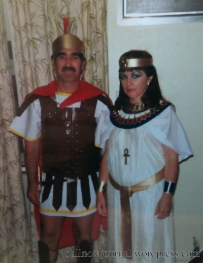 Behold: Antony and his Cleopatra. I remember Mum made Dad's armour out of cardboard covered in Con-tact, and the 'jewels' in her collar were squares of coloured paper.