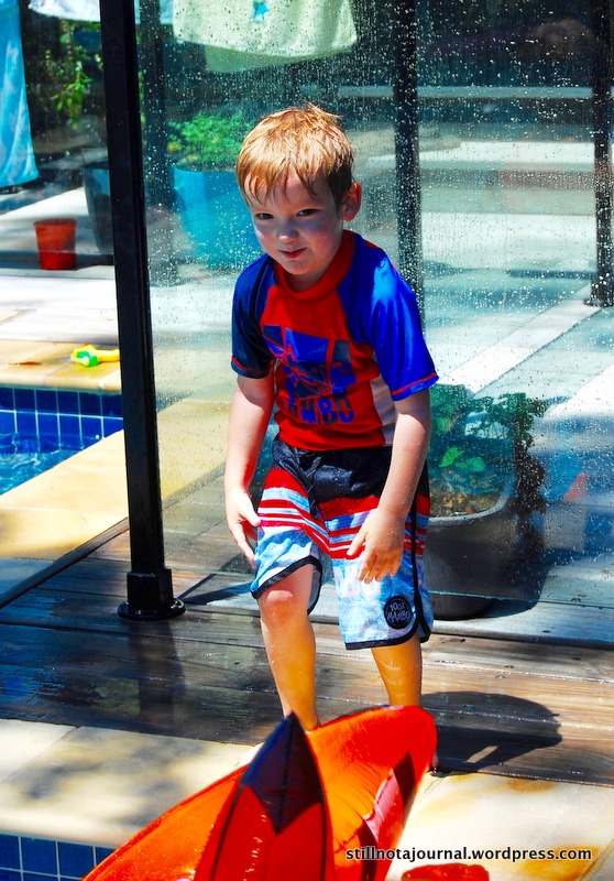 Not content to simply jump in any more he has followed his big bro's lead in using the pool toys as obstacles.