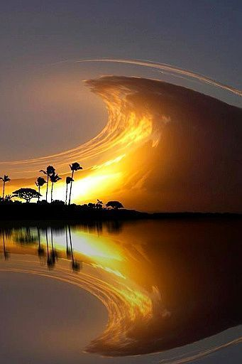 Sky wave, Costa Rica sunset