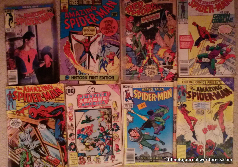 Some of my beloved Spidey comics; definitely not mint. And definitely not EVER getting chucked out. YOU HEAR ME, JOHN??!!