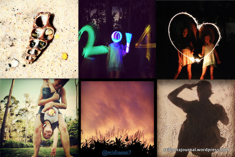 Spiral shell, Happy New Year!, heart lighttrails, upside down, storm sunset, selfie.