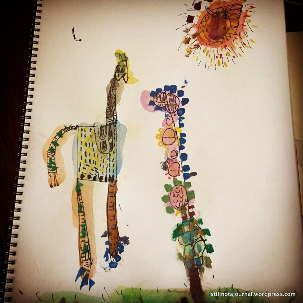 Work tentatively titled Giraffe and Flower with Sun. Ink and watercolour. Not for sale but could be worth a motza one day.