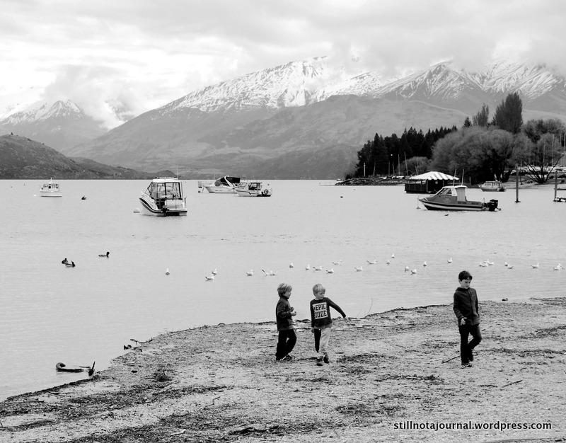 Lake Wanaka New Zealand black and white