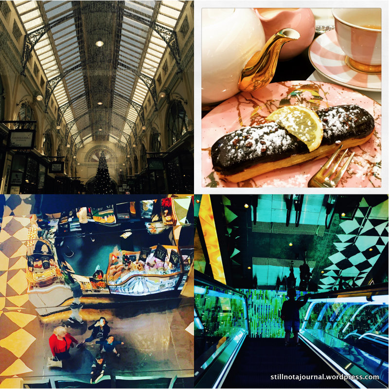 In Melbourne: Victoria Arcade, high tea at Runya's Tea Room, ceiling reflection and the trippy escalator in Collins St Arcade.